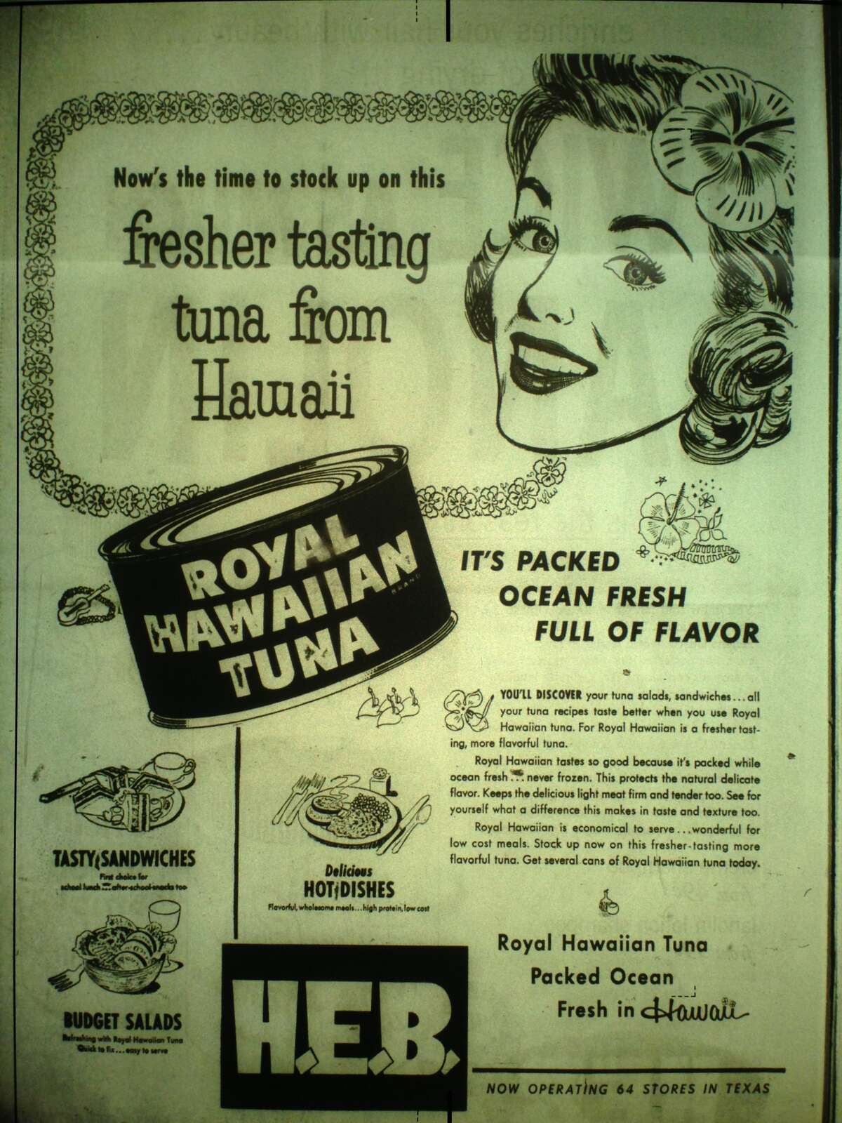 Grocery store ads that ran in San Antonio newspapers in February 1955.