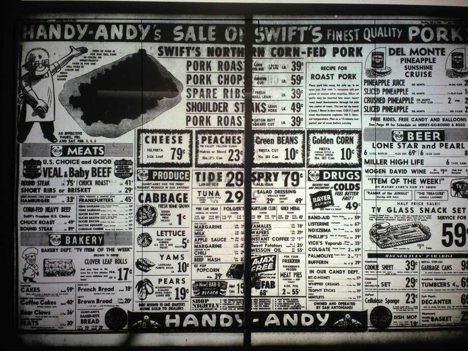 Grocery store ads that ran in San Antonio newspapers in February 1955. Photo: Benjamin Olivo/mySA.com