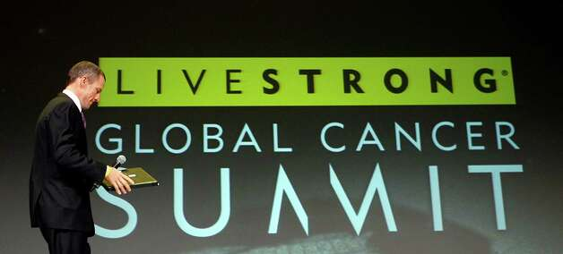 Lance Armstrong arriving to open the Livestrong Global Cancer Summit in Dublin, Ireland, Aug. 24, 2009. Armstrong said Oct. 17, 2012, he is stepping down as chairman of his Livestrong cancer-fighting charity so the group can focus on its mission instead of its founder's problems.  (AP Photo/Peter Morrison) Photo: PETR MORRISON, Associated Press / AP