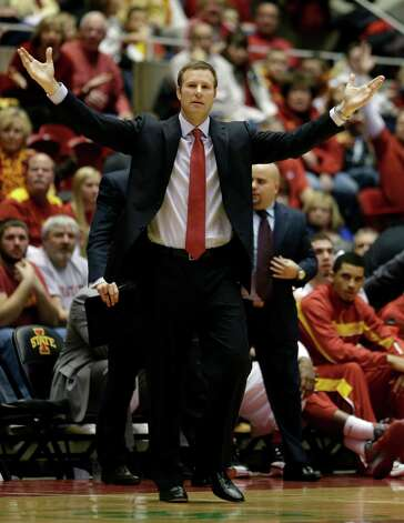 Iowa State head coach Fred Hoiberg reacts to a call during the second half of an NCAA college basketball game against Texas, Saturday, Jan. 12, 2013, in Ames, Iowa. Iowa State won 82-62. (AP Photo/Charlie Neibergall) Photo: Charlie Neibergall, Associated Press / AP