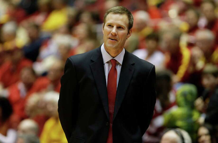 Iowa State head coach Fred Hoiberg looks on during the second half of an NCAA college basketball game against Texas, Saturday, Jan. 12, 2013, in Ames, Iowa. Iowa State won 82-62. (AP Photo/Charlie Neibergall) Photo: Charlie Neibergall, Associated Press / AP