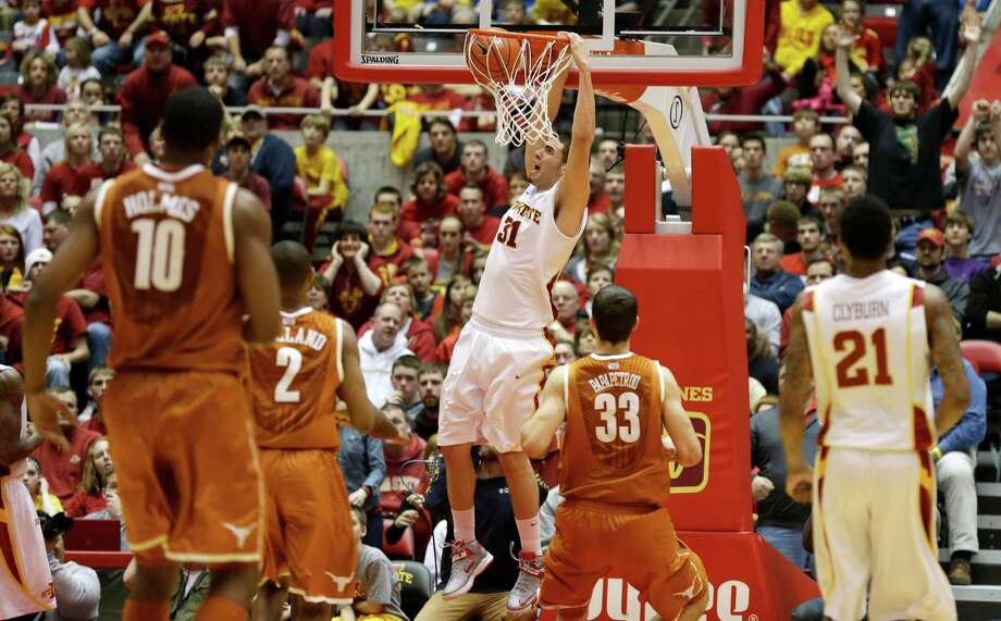 Iowa State forward Georges Niang (31) dunks the ball during the second half of an NCAA college basketball game against Texas, Saturday, Jan. 12, 2013, in Ames, Iowa. Niang scored 18 points as Iowa State won 82-62. (AP Photo/Charlie Neibergall) Photo: Charlie Neibergall, Associated Press / AP
