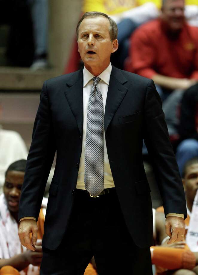 Texas head coach Rick Barnes reacts to a call during the first half of an NCAA college basketball game against Iowa State, Saturday, Jan. 12, 2013, in Ames, Iowa. Iowa State won 82-62. (AP Photo/Charlie Neibergall) Photo: Charlie Neibergall, Associated Press / AP