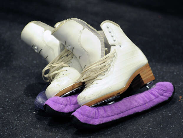The skates of Elena Glebova, an Estonian national figure skating champion, were visible during a visit by Glebova to the Boys & Girls Club of Greenwich, Saturday night, Jan. 12, 2013. Photo: Bob Luckey / Greenwich Time