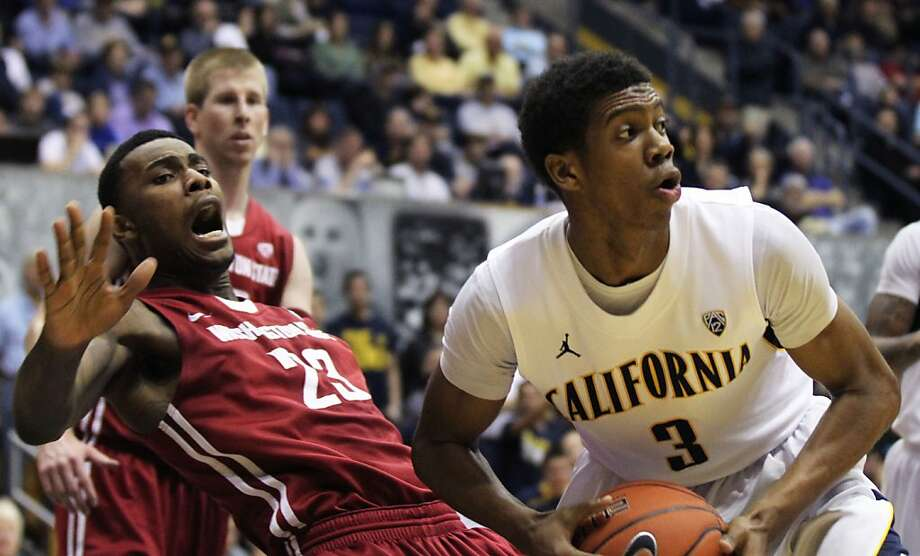 California's Tyrone Wallace (3) is fouled by Washington State D.J. Shelton the second half of an NCAA college basketball game Saturday Jan 12, 2013, in Berkeley California. Cal won 67-54 Photo: Lance Iversen, The Chronicle