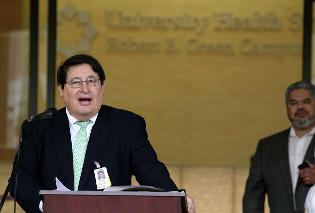 University Health System President and CEO George B. Hernandez, Jr. addresses guests at the unveiling ceremony of the new Clinical Pavilion at the Robert B. Green Campus on Saturday, Jan. 12, 2013. The outpatient clinic features urgent and primary care services as well as a new larger pharmacy next door. The six-story, 269,000 square-foot building was part of the health system's $899 million Capital Improvement Program. Photo: Kin Man Hui, San Antonio Express-News / ©2012 San Antonio Express-News