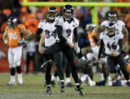 Baltimore Ravens kicker Justin Tucker (9) reacts after hitting the winning field goal against the Denver Broncos in overtime of an AFC divisional playoff NFL football game, Saturday, Jan. 12, 2013, in Denver. The Ravens won 38-35. (AP Photo/Joe Mahoney) Photo: Joe Mahoney, Associated Press / FR170458 AP
