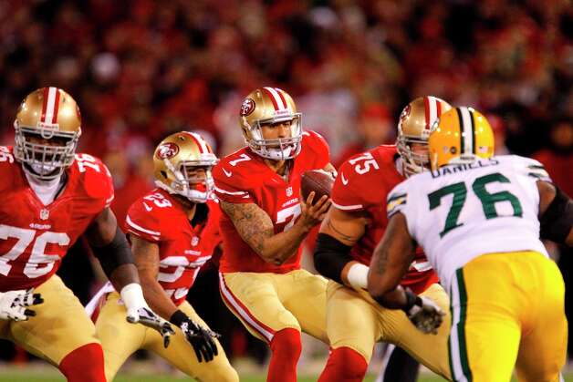 San Francisco 49ers Quarterback Colin Kaepernick (7) during the first quarter of the San Francisco 49ers game against the Green Bay Packers in the NFC Divisional Playoffs at Candlestick Park in San Francisco, Calif., on Saturday January 12, 2013. Photo: Brant Ward, The Chronicle / ONLINE_YES