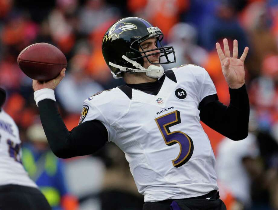 Baltimore Ravens quarterback Joe Flacco passes against the Denver Broncos in the second quarter of an AFC divisional playoff NFL football game, Saturday, Jan. 12, 2013, in Denver. (AP Photo/Charlie Riedel) Photo: Charlie Riedel