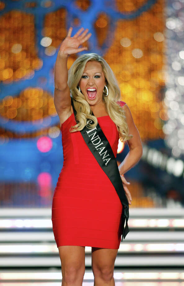 Miss Indiana MerrieBeth Cox competes in the Miss America pageant on Saturday, Jan. 12, 2013, in Las Vegas. (AP Photo/Isaac Brekken) Photo: Isaac Brekken, ASSOCIATED PRESS / AP2013