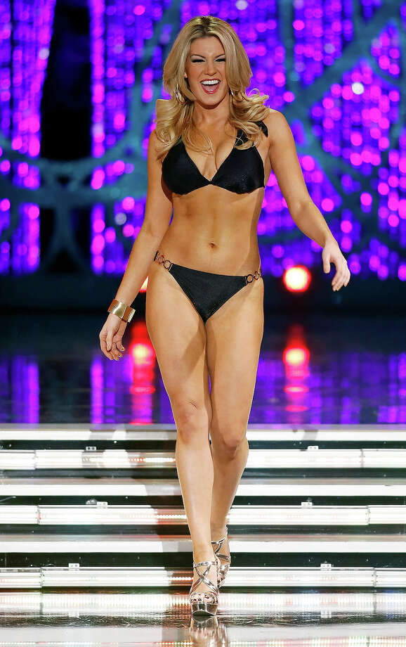 Miss New York Mallory Hytes Hagan competes swimsuit portion of the Miss America pageant on Saturday, Jan. 12, 2013, in Las Vegas. (AP Photo/Isaac Brekken) Photo: Isaac Brekken, ASSOCIATED PRESS / AP2013
