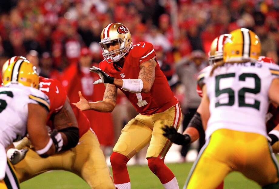 Quarterback Colin Kaepernick (7) in the second quarter of the San Francisco 49ers game against the Green Bay Packers in the NFC Divisional Playoffs at Candlestick Park in San Francisco, Calif., on Saturday January 12, 2013. Photo: Carlos Avila Gonzalez, The Chronicle / ONLINE_YES