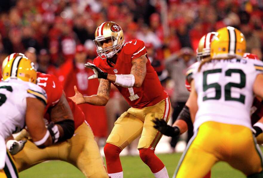 Quarterback Colin Kaepernick (7) in the second quarter of the San Francisco 49ers game against the G