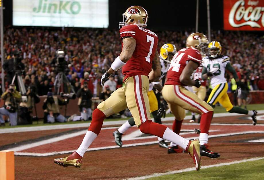 The play of Colin Kaepernick, above, exceeded Steve Young's expectations, as has the transition to Kaepernick as starter. Photo: Michael Macor, The Chronicle