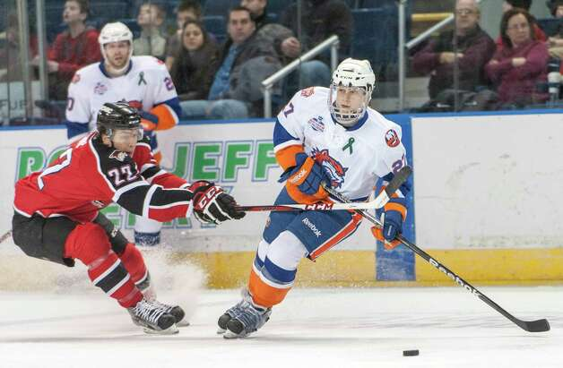 Bridgeport Sound Tigers Aaron Ness controls the puck in an American Hockey League game against the Portland Pirates played at the Webster Bank Arena, Bridgeport, CT on Saturday January 12th, 2013. Photo: Mark Conrad / Connecticut Post Freelance