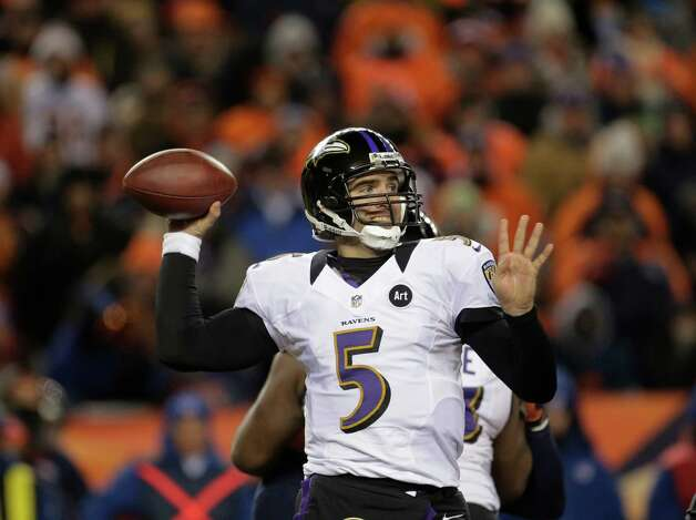Baltimore Ravens quarterback Joe Flacco (5) passes against the Denver Broncos in the fourth quarter of an AFC divisional playoff NFL football game, Saturday, Jan. 12, 2013, in Denver. (AP Photo/Charlie Riedel) Photo: Charlie Riedel, Associated Press / AP