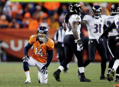 Denver Broncos wide receiver Brandon Stokley (14) reacts after a pass intended for him was intercepted by Baltimore Ravens cornerback Corey Graham (24) in overtime of an AFC divisional playoff NFL football game, Saturday, Jan. 12, 2013, in Denver. (AP Photo/Joe Mahoney) Photo: Joe Mahoney, Associated Press / FR170458 AP