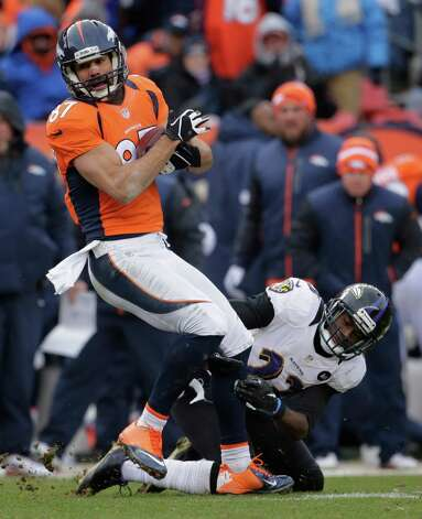 Denver Broncos wide receiver Eric Decker breaks away from Baltimore Ravens defensive back Chykie Brown (23) in the second quarter of an AFC divisional playoff NFL football game, Saturday, Jan. 12, 2013, in Denver. (AP Photo/Charlie Riedel) Photo: Charlie Riedel, Associated Press / AP