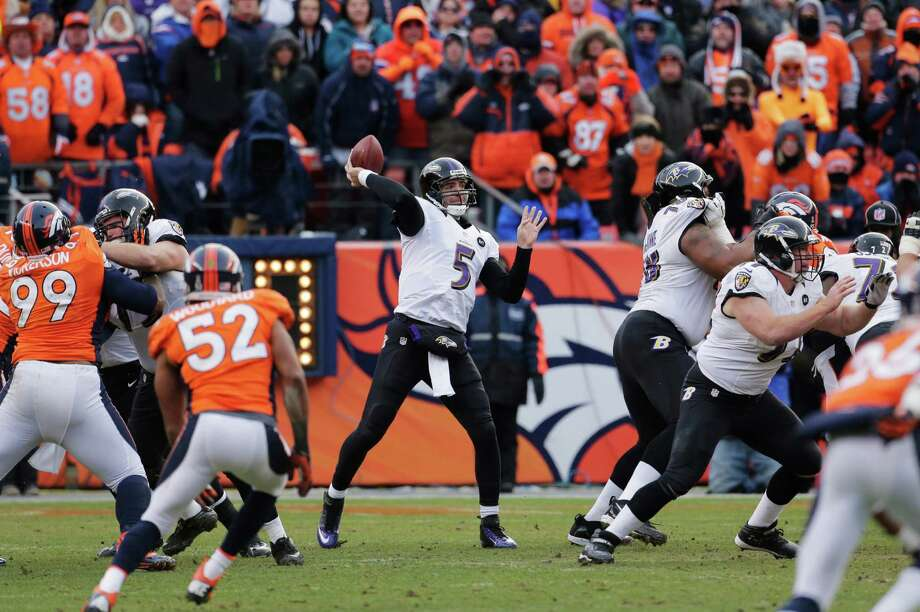 Baltimore Ravens quarterback Joe Flacco (5) throws against the Denver Broncos in the second quarter of an AFC divisional playoff NFL football game, Saturday, Jan. 12, 2013, in Denver. (AP Photo/Charlie Riedel) Photo: Charlie Riedel, Associated Press / AP