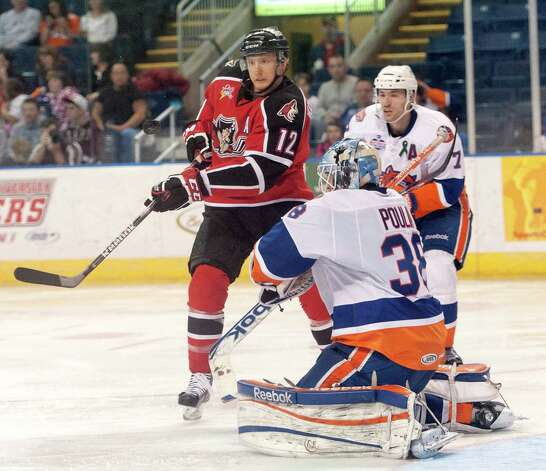 The Portland Pirates vs. the Bridgeport Sound Tigers in an American Hockey League game played at the Webster Bank Arena, Bridgeport, CT on Saturday January 12th, 2013. Photo: Mark Conrad / Connecticut Post Freelance