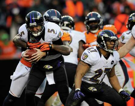 Baltimore Ravens quarterback Joe Flacco (5) is sacked by Denver Broncos defensive end Robert Ayers (91) in the third quarter of an AFC divisional playoff NFL football game, Saturday, Jan. 12, 2013, in Denver. (AP Photo/Jack Dempsey) Photo: Jack Dempsey, Associated Press / FR42408 AP