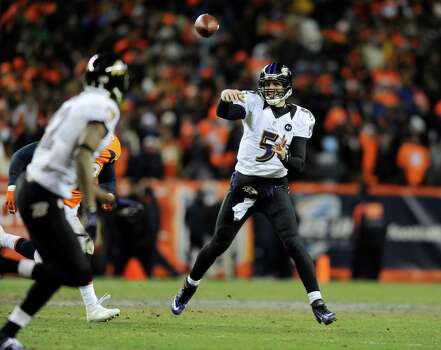Baltimore Ravens quarterback Joe Flacco (5) passes against the Denver Broncos in the fourth quarter of an AFC divisional playoff NFL football game, Saturday, Jan. 12, 2013, in Denver. (AP Photo/Jack Dempsey) Photo: Jack Dempsey, Associated Press / FR42408 AP