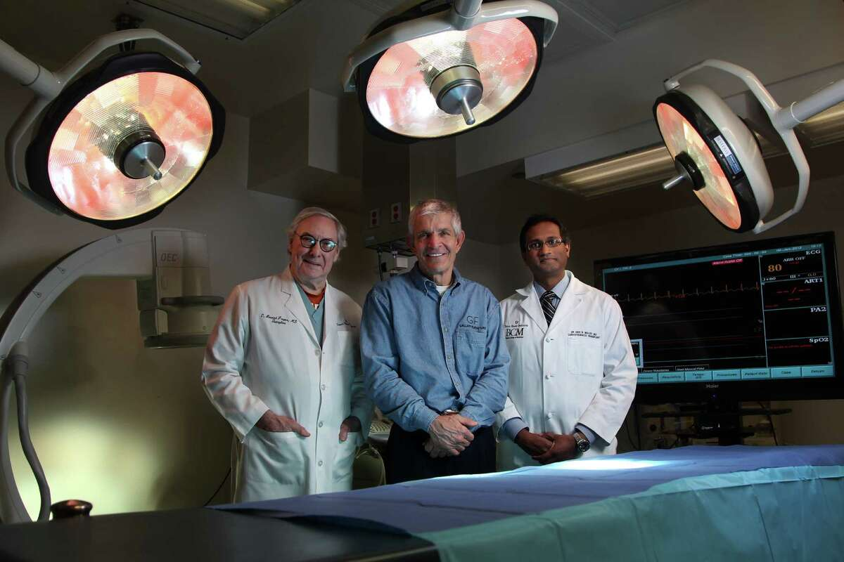 """Jim """"Mattress Mac"""" McIngvale, flanked by surgeons O.H. """"Bud"""" Frazier, left, and Hari R. Mallidi at St. Luke's Hospital, is donating $2.1 million to the Texas Heart Institute to bring Australian inventor Daniel Timms and his revolutionary artificial heart to Houston."""