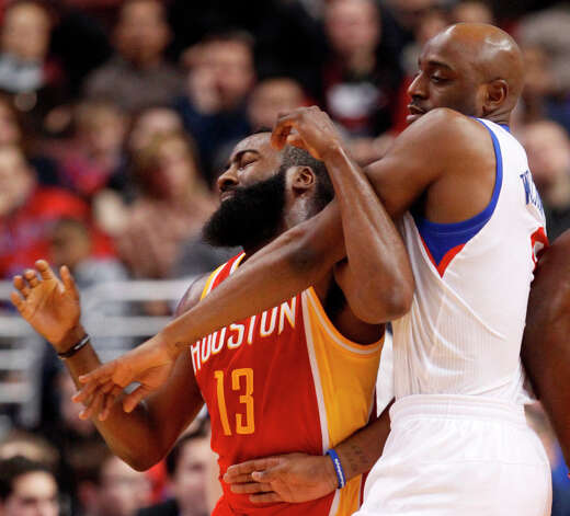 James Harden (13) battles for postion with Damien Wilkins. Photo: RON CORTES, McClatchy-Tribune News Service / Philadelphia Inquirer
