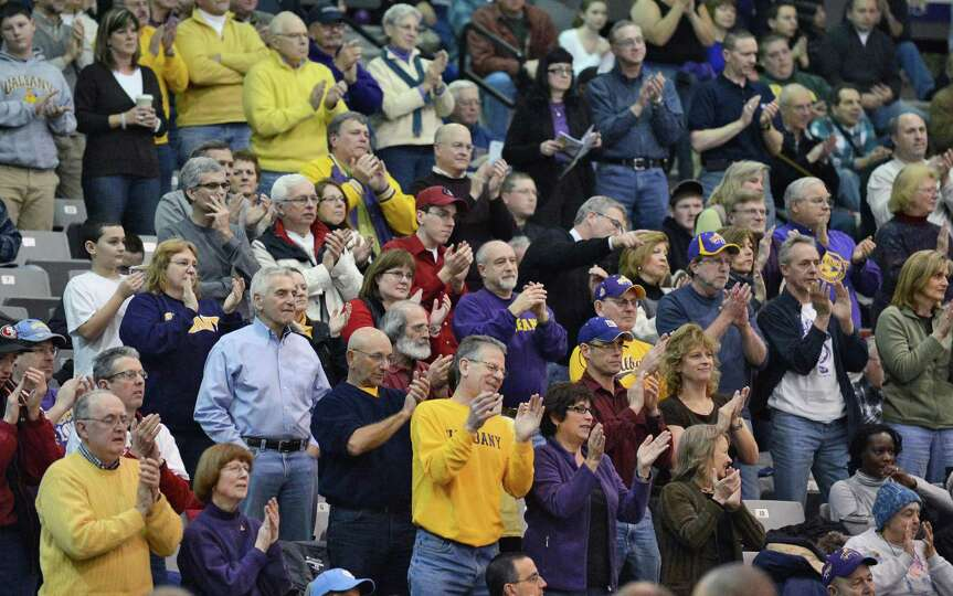 UAlbany fans cheer their team against Maine during Saturday's America East game at the SEFCU Arena i