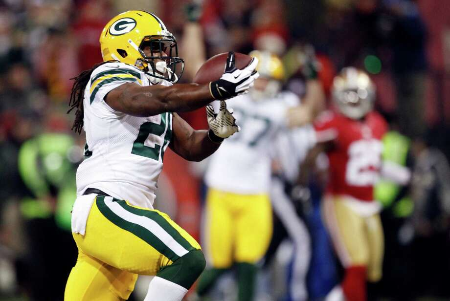 Green Bay Packers running back DuJuan Harris (26) 18-yard touchdown run during the first quarter of an NFC divisional playoff NFL football game in San Francisco, Saturday, Jan. 12, 2013. (AP Photo/Tony Avelar) Photo: Tony Avelar, Associated Press / FR155217 AP