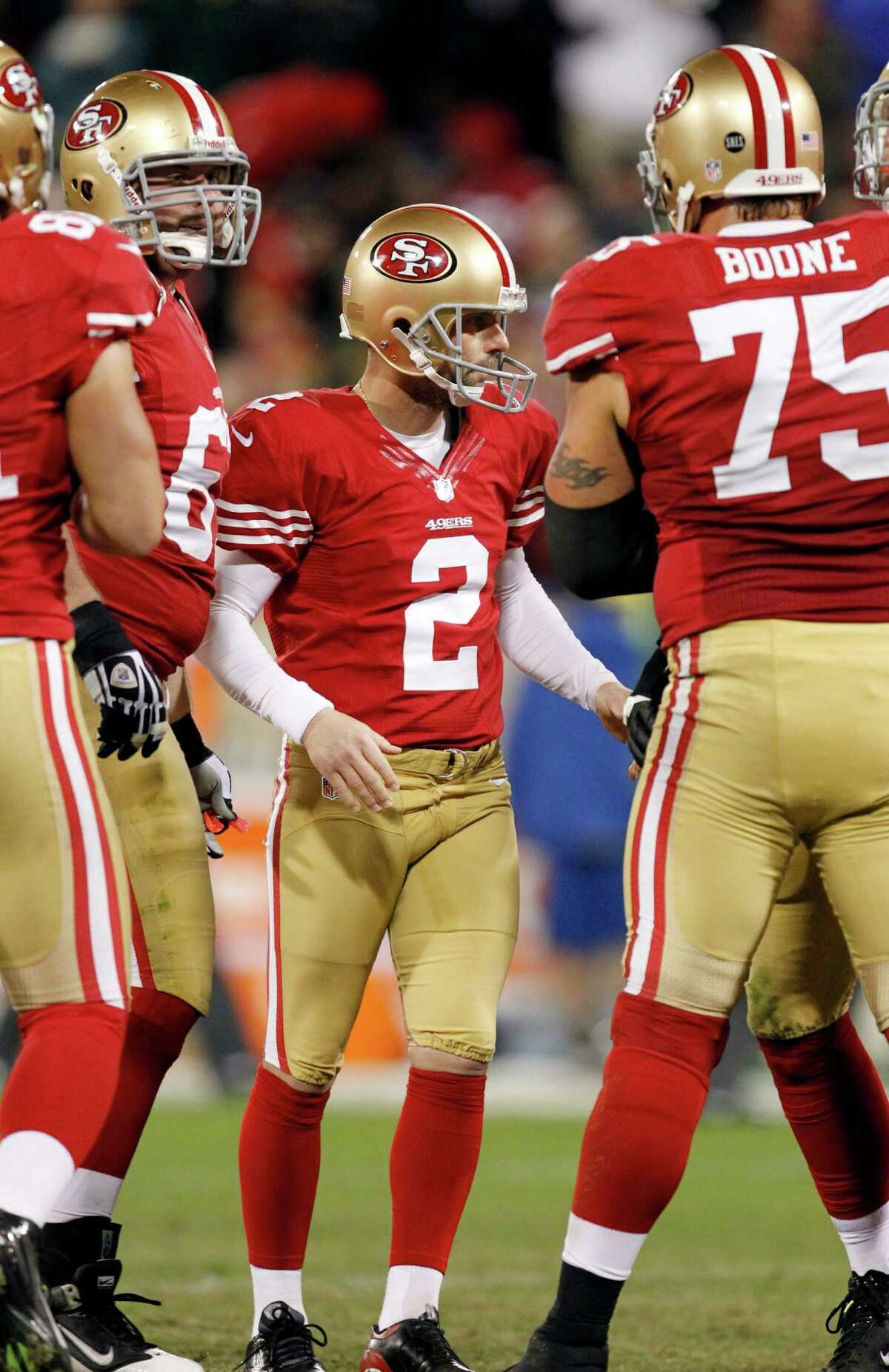 San Francisco 49ers place kicker David Akers (2) is seen after kicking a 36-yard field goal during the second quarter of an NFC divisional playoff NFL football game against the Green Bay Packers in San Francisco, Saturday, Jan. 12, 2013. (AP Photo/Tony Avelar)