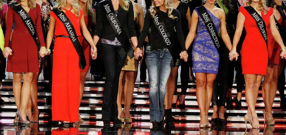 Contestants compete in the Miss America 2013 pageant on Saturday, Jan. 12, 2013, in Las Vegas. Photo: AP