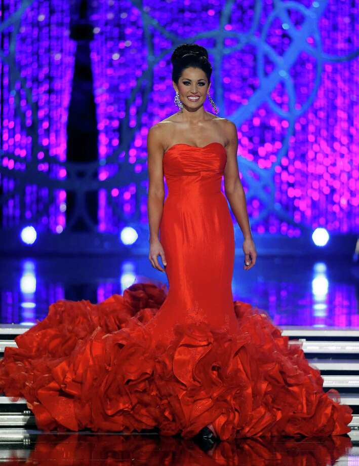 Miss Illinois Megan Irvin competes in the evening gown portion of the Miss America 2013 pageant on Saturday, Jan. 12, 2013, in Las Vegas. Photo: AP
