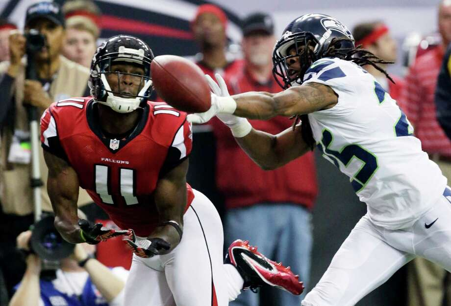 Seahawks cornerback Richard Sherman may be tasked with matching up one-on-one with Atlanta Falcons receiver Julio Jones on Sunday, continuing a trend started last year. To see how Sherman's performed when shadowing an opponent's No. 1 wideout, according to data from Pro Football Focus, check out the rest of the gallery. Photo: AP