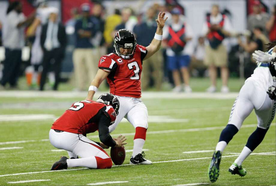 Atlanta Falcons' Matt Bryant kicks a field goal during the first half of an NFC divisional playoff NFL football game against the Seattle Seahawks Sunday, Jan. 13, 2013, in Atlanta. (AP Photo/John Bazemore) Photo: John Bazemore, Associated Press / AP
