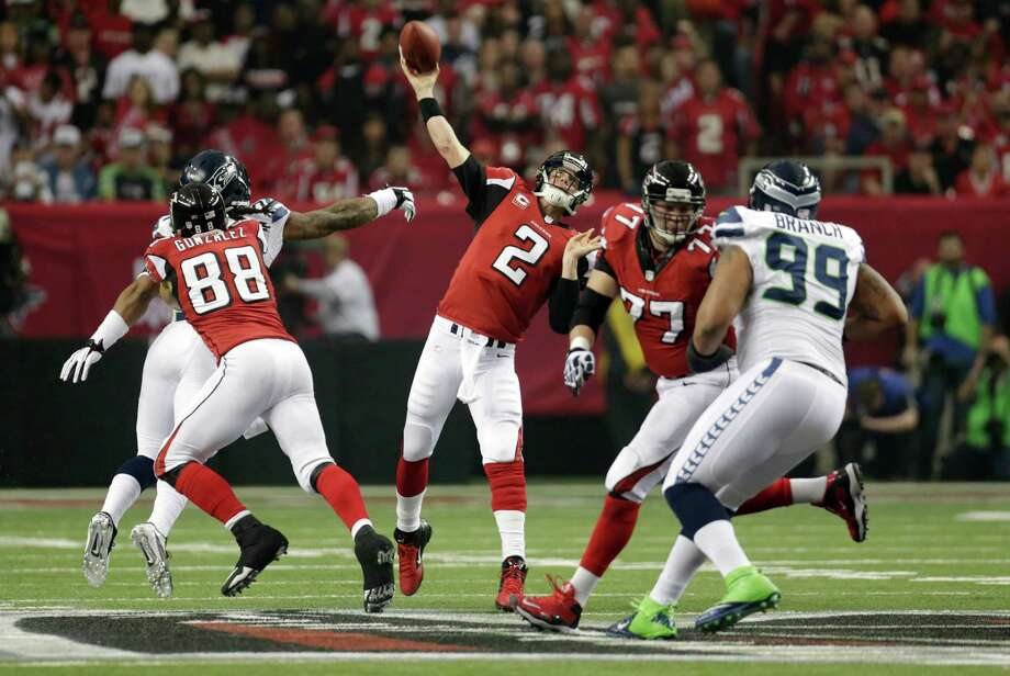 Atlanta Falcons' Matt Ryan throws during the first half of an NFC divisional playoff NFL football game against the Seattle Seahawks Sunday, Jan. 13, 2013, in Atlanta. (AP Photo/Dave Martin) Photo: Dave Martin, Associated Press / AP