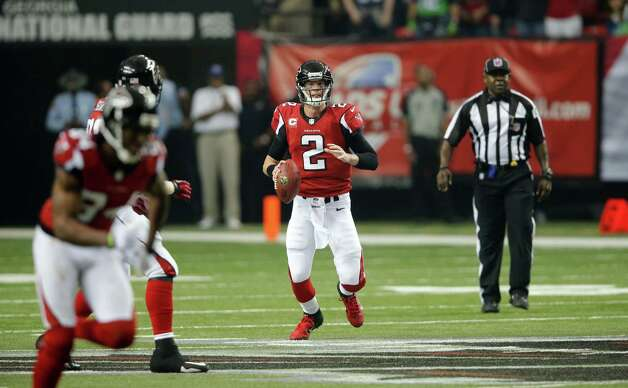 Atlanta Falcons' Matt Ryan drops back to pass during the first half of an NFC divisional playoff NFL football game against the Seattle Seahawks Sunday, Jan. 13, 2013, in Atlanta. (AP Photo/John Bazemore) Photo: John Bazemore, Associated Press / AP