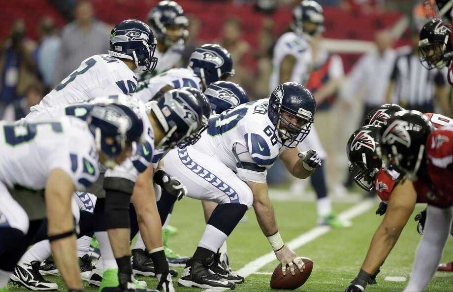 The Seattle Seahawks line up during the first half of an NFC divisional playoff NFL football game against the Atlanta Falcons Sunday, Jan. 13, 2013, in Atlanta. (AP Photo/David Goldman) Photo: David Goldman, Associated Press / AP