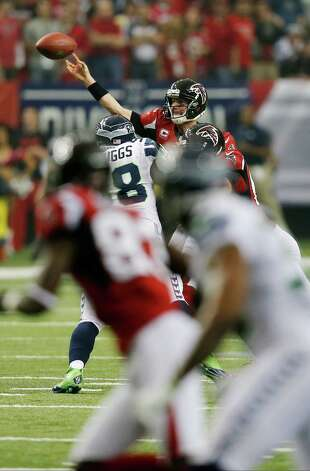 Atlanta Falcons' Matt Ryan throws during the first half of an NFC divisional playoff NFL football game against the Seattle Seahawks Sunday, Jan. 13, 2013, in Atlanta. (AP Photo/John Bazemore) Photo: John Bazemore, Associated Press / AP