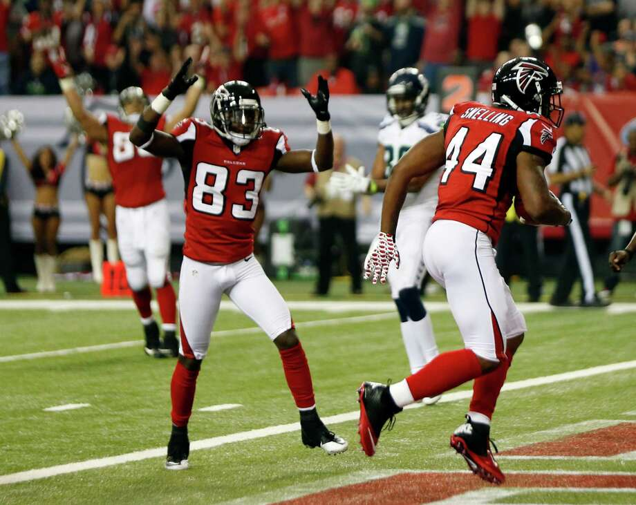 Atlanta Falcons' Jason Snelling (44) breaks away for a touchdown during the second half of an NFC divisional playoff NFL football game against the Seattle Seahawks Sunday, Jan. 13, 2013, in Atlanta. (AP Photo/John Bazemore) Photo: John Bazemore, Associated Press / AP