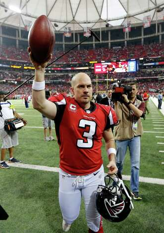 Atlanta Falcons kicker Matt Bryant (3) walks off the field after kicking the game-winning field goal during the second half of an NFC divisional playoff NFL football game against the Seattle Seahawks Sunday, Jan. 13, 2013, in Atlanta. The Falcons won 30-28. (AP Photo/John Bazemore) Photo: John Bazemore, Associated Press / AP