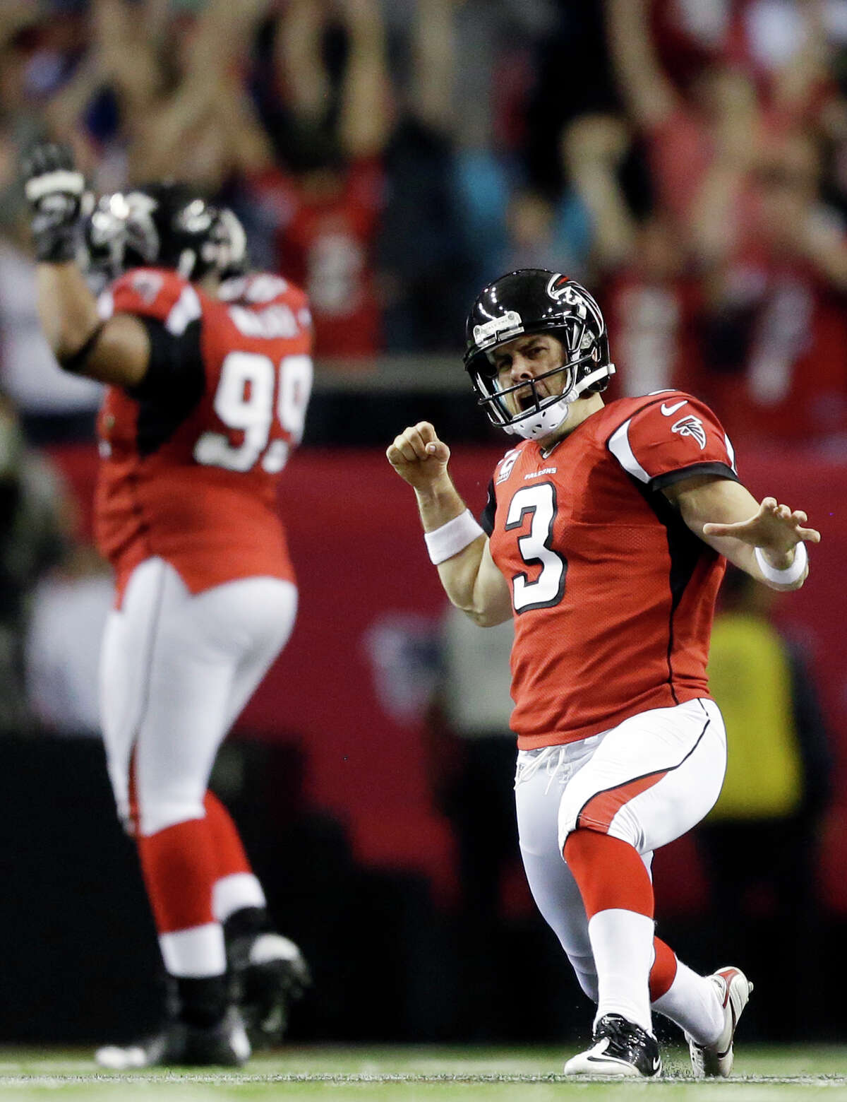 Atlanta Falcons kicker Matt Bryant (3) reacts to his game-winning field goal against the Seattle Seahawks during the second half of an NFC divisional playoff NFL football game Sunday, Jan. 13, 2013, in Atlanta. The Falcons won 30-28. (AP Photo/David Goldman)