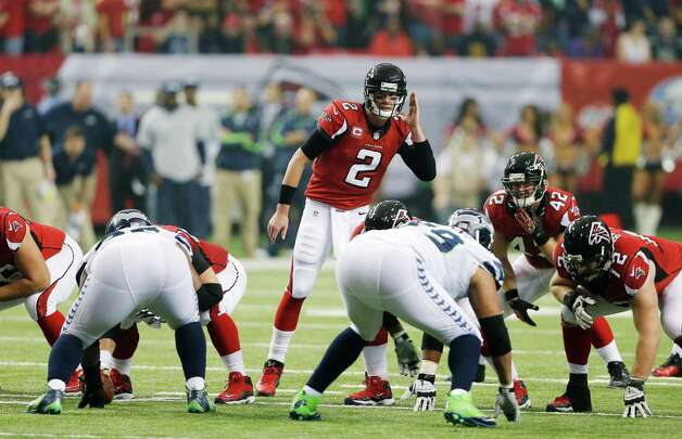 Atlanta Falcons' Matt Ryan (2) calls a play at the line during the first half of an NFC divisional playoff NFL football game against the Seattle Seahawks Sunday, Jan. 13, 2013, in Atlanta. (AP Photo/John Bazemore) Photo: John Bazemore, Associated Press / AP