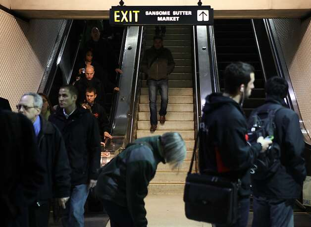 Commuters arrive on the platform at the Montgomery BART station on the evening of January 10, 2013 in San Francisco, Calif. Photo: Pete Kiehart, The Chronicle