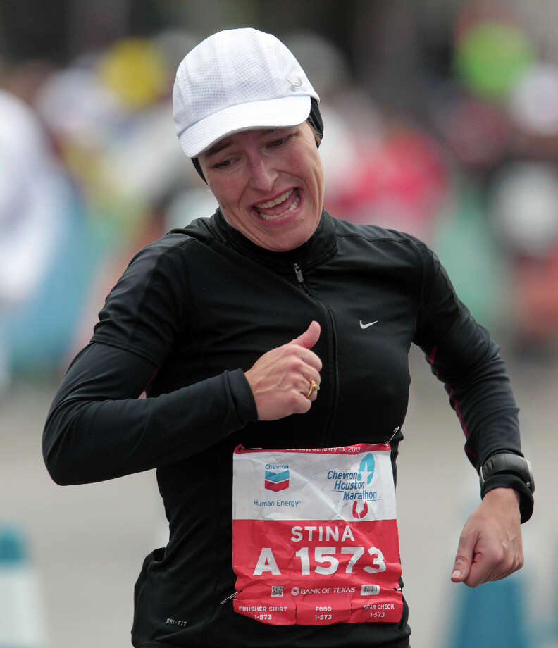 Stin Frederiksen nears the finish line. Photo: James Nielsen, Chronicle / © Houston Chronicle 2013