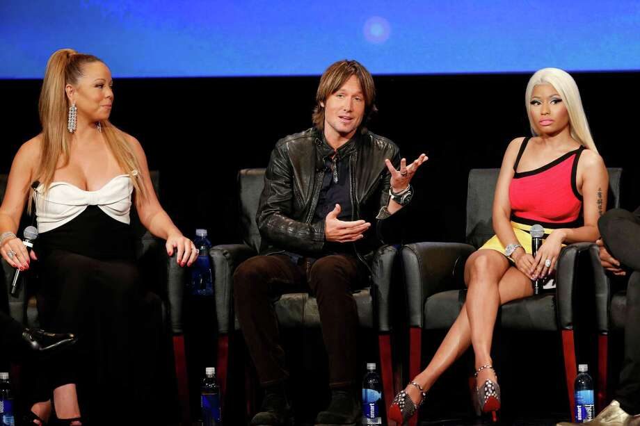 WESTWOOD, CA - JANUARY 09:  (L-R) Singer Mariah Carey, musician Keith Urban, and singer Nicki Minaj onstage during a live Q&A during the season premiere screening of Fox's 'American Idol' at Royce Hall, UCLA on January 9, 2013 in Westwood, California. Photo: Imeh Akpanudosen, Getty Images / 2013 Getty Images