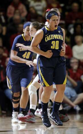 California 's Mikayla Lyles (30) celebrates after scoring against Stanford during the first half of an NCAA college basketball game in Stanford, Calif., Sunday, Jan. 13, 2013. (AP Photo/Marcio Jose Sanchez) Photo: Marcio Jose Sanchez, Associated Press