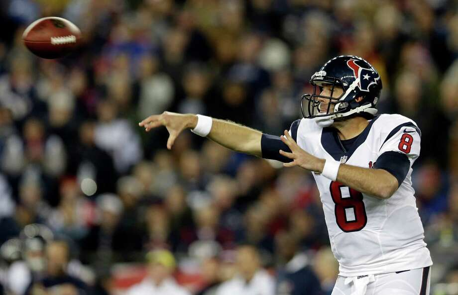 Houston Texans quarterback Matt Schaub passes during the first half of an AFC divisional playoff NFL football game against the New England Patriots in Foxborough, Mass., Sunday, Jan. 13, 2013. (AP Photo/Elise Amendola) Photo: Elise Amendola, Associated Press / AP