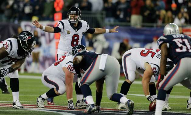 Houston Texans quarterback Matt Schaub (8) calls an audible during the first half of an AFC divisional playoff NFL football game against the New England Patriots in Foxborough, Mass., Sunday, Jan. 13, 2013. (AP Photo/Charles Krupa) Photo: Charles Krupa, Associated Press / AP