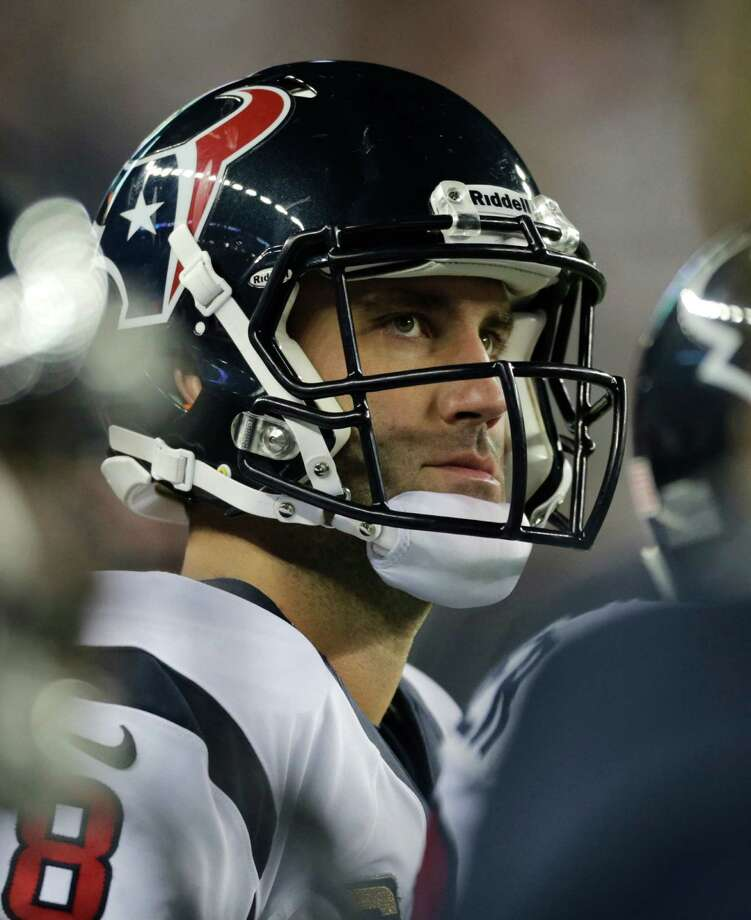 Houston Texans quarterback Matt Schaub watches from the sidelines during the first half of an AFC divisional playoff NFL football game against the New England Patriots in Foxborough, Mass., Sunday, Jan. 13, 2013. (AP Photo/Charles Krupa) Photo: Charles Krupa, Associated Press / AP